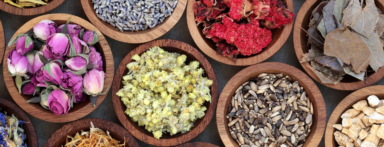 Natural herbal medicine selection with a variety of dried herbs and flowers in wooden bowls. Top view.